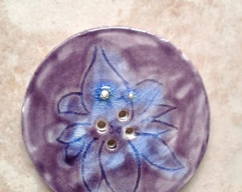 """1 Large Purple Lilac Ceramic Lotus Button  with Fine Silver 1-3/4 """" Button Clay Pottery Sewing Knitting Notions"""