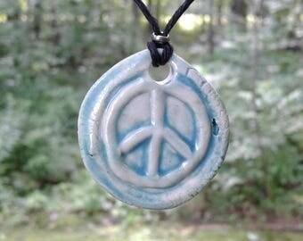 Pale Turquoise Peace Sign Porcelain Pendant Necklace Clay Pottery Amulet on Hemp Cord Beach Boho Surfer