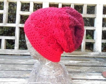 "Ombre Red slouchy hat. 22"" fits teen-small. Small to medium size. Machine wash and dry. Will last for years."