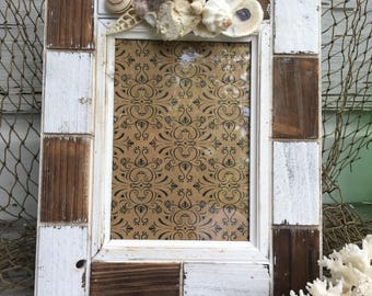 Shiplap Seashell Frame/5x7 Shell Picture Frame/Wedding Day Frame/Coastal Cottage/Beach House Decor