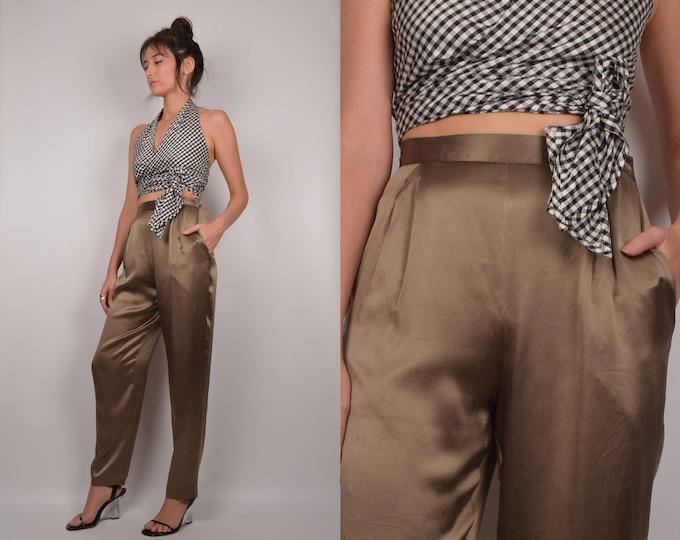 Vintage Olive Silk Trousers / high waist minimalist pants