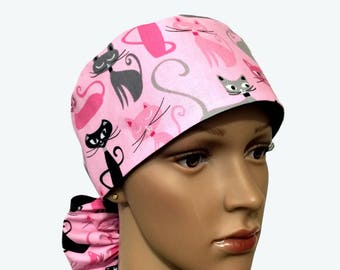 Ponytail Scrub Hat with ribbon ties - Kaufman Whiskers and Tails Cats All Over Pink Ponytail Scrub Hat - Animal Ponytail - lined scrub hat