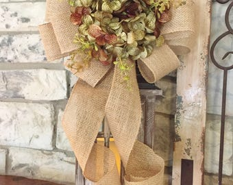 Fall~Hydrangea Lantern Swag~Forest Greenery~Wired Edge Burlap Ribbon, Swag, Wreath, Decor,Holiday or Every Day~Timeless Floral Creations
