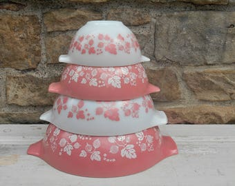 Vintage Pyrex Pink Gooseberry Cinderella Mixing Bowls Complete Set of Four 441 442 443 444 Bright Pink and White