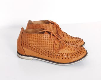 Woven Huarache Brown Leather Oxford Chukka Boots Moccasins Shoes // Women's size 5.5