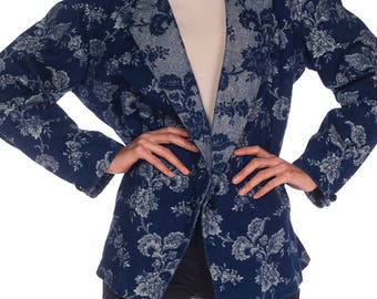 Denim And Lurex Brocade Jacket Size: L