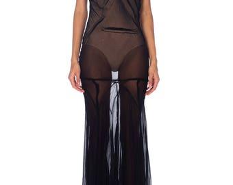1930s Black Chiffon Gown Size: S/M