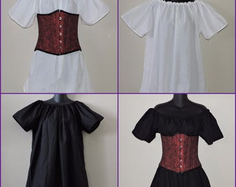 ladies half length short sleeve chemise Off The Shoulder RTS Pirate shirt medieval renaissance clothing SCA ready to ship