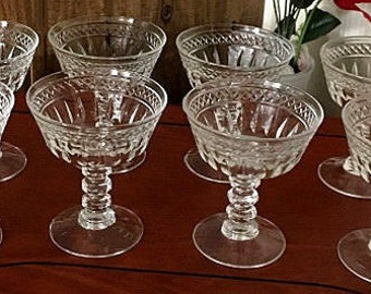 Vintage Crystal Champagne Coupes, 8 crystal toasting glasses, art deco style  barware glassware