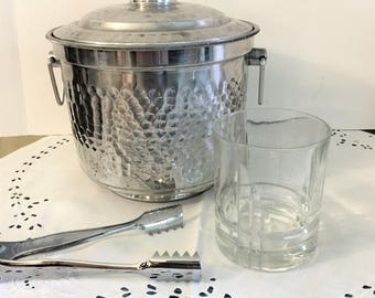 Vintage Modern Hammered Aluminum Ice Bucket & Tongs Made in Italy Italian Home Decor MCM Barware Entertaining Party Decor