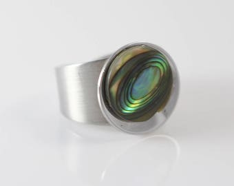 Stainless Steel and Abalone Shell Round Disc Ring  US size 7 UK size N 1/2