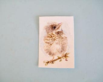 Robin fledgeling,  original watercolor,  small painting,  aceo size art,  baby bird picture,