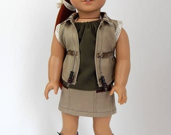 18 inch Doll Clothes-Camo Vest with Olive Green Halter Top and Khaki Skirt