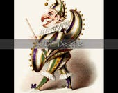 Instant Digital Download, Vintage Victorian Graphic, Antique Mardi Gras Punch, Harlequin, Jester, Performer, Printable Image, Costume