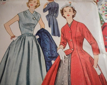 Vintage 1950's Simplicity 4172 Dress and Coat Sewing Pattern Size 16 Bust 34