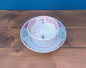 Antique pearlware shanked fluted tea bowl and saucer c 1800