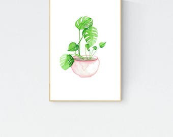 Monstera Watercolour, Botanical Decor, Potted Plant Print, Tropical Wall Art, Fruit Salad Plant, Monstera Leaf print, Plant Lovers Gift