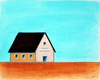 Barn Painting, Old Barn, Farm Painting, Landscape painting, White Barn, Farmhouse Art, Contemporary Barn, Minimalist Barn, Barn Art Farm Art