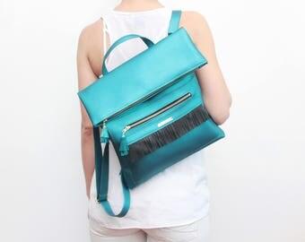Vegan leather backpack. Large shoulder bag. Shopping bag. School bag. Leather fringe. Metallic teal leather. Blue green backpack. / MAYA 9