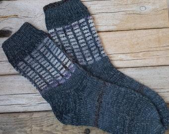Hand Knit Wool Socks - Grey Wool Socks for Men -Mens Socks -Handmade Socks -Men Wool Socks