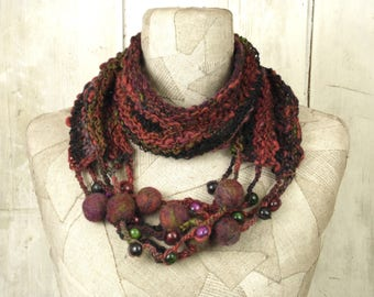 Christmas in July, Art knit infinity scarf necklace, knit boho loop, Knitted wrap, purple, Bohemian clothing, Gypsy shawl, rope felt gift