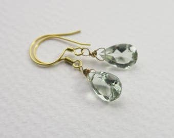 Green Amethyst Earrings | Green Amethyst Jewelry | Bridesmaid Earrings | Green Gemstone Earrings | Wife Gift | Sister Gift | Gift for her