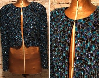 Vintage 1980s Sequin Mermaid Jacket // 80s Niteline by Della Roufogali Cropped jacket // size large L