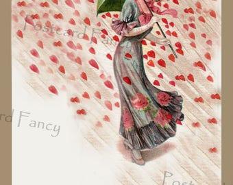 It's Raining Hearts on VALENTINE'S Day, LOVE,  Printable Vintage Image, Instant DIGITAL Download