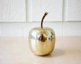 Vintage brass apple decor retro 70s gift for teacher golden apple