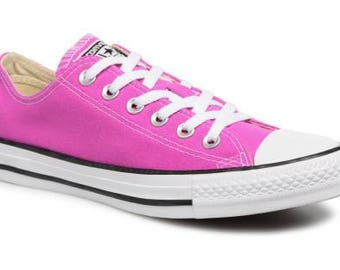 Pink Converse Magenta Low Top Bright Lilac Rose w/ Swarovski Crystal Rhinestone Bridal Wedding Chuck Taylor All Star Trainers Sneakers Shoes