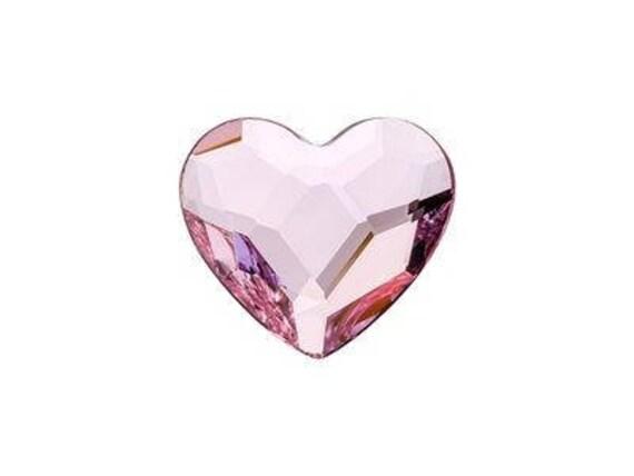 6mm Custom Swarovski Crystal Heart Earring set Wedding Rosaline Pink Gems Rhinestone w/ Silver Titanium Post Hypoallergenic Minimalist Studs
