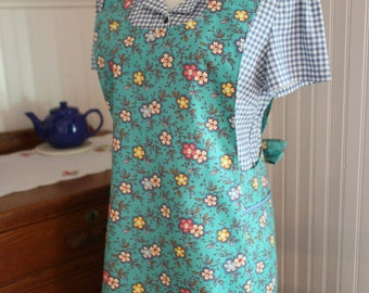 Turquoise Calico 1930's Apron -Ready to Ship