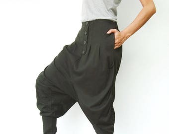 NO.64 Dark Olive Cotton Jersey Casual Baggy Dance Harem Pants Stylish Button Fly Drop-Crotch Trousers