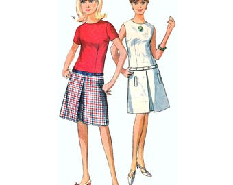Simplicity 6455 Teen or Woman Drop-Waist Dress w/ Inverted Front Pleat and Belt Sewing Pattern Size Junior 11 Bust 31.5/ 80 cm Vintage 1960s
