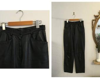 Vintage BLACK LEATHER PANTS / size Medium