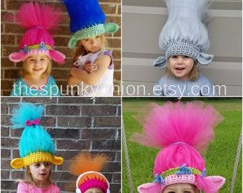 Trolls hats, Smidge, DJ Suki, Poppy, Branch, Guy Diamond