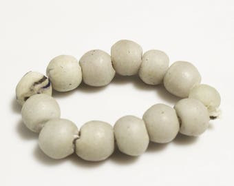 Light Gray Dirty White African Glass Beads, Ethnic Jewelry Supplies, Recycled Beads (*AM56*)