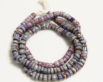 African Chevron Trade Beads 24'' Strand, Awale Beads, Venetian Red and Blue Beads (*AM57*)