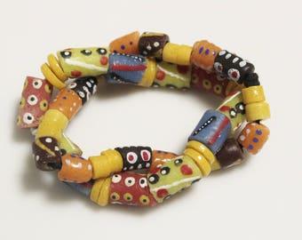 African Krobo Bead Assortment, Recycled Glass Beads, Jewelry Supplies (AM119)