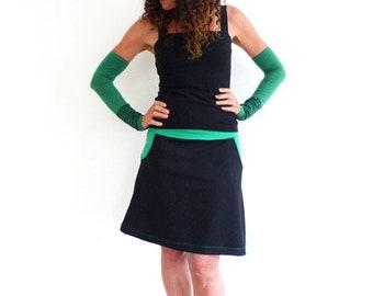 Bundrock with pockets, black-green, a-form