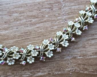 Dainty Vintage Coro Enamel and AB Crystal Flower Bracelet