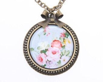 Necklace flowers vintage 2525C