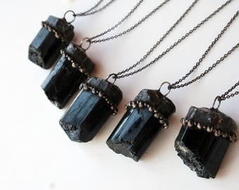 Raw Black Tourmaline Necklace // Large Tourmaline Crystal Statement Necklace