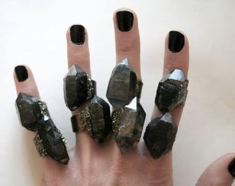 Tibetan Smoky Quartz Crystal Ring - Large Size Crystal