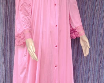 Nylon Pink Maxi Full length Robe made by Gilead FREE SHIPPING!!
