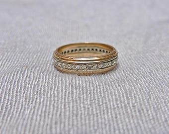 30s Art Deco Diamond and 14K White and Yellow Gold Eternity Ring