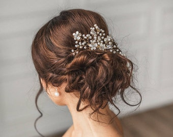Wedding Hair Comb  Pearl comb Bridal comb Silver Hair Comb Ivory Pearl Hair Accessories Rose gold comb Pearl Comb Bridal Hairpiece