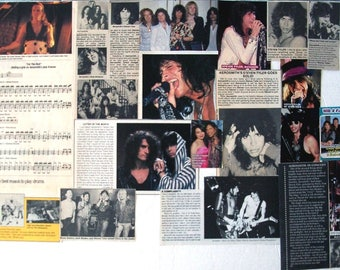 STEVEN TYLER ~ Aerosmith, Dream On, Walk This Way, Come Together, Love In An Elevator ~ Color and B&W Clippings, Articles from 1976-1993