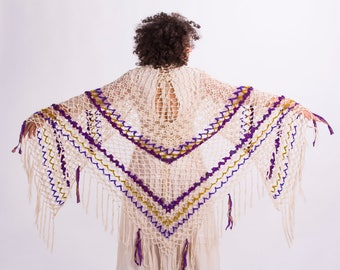 Hand crochet triangle shawl with Indian sari,Wedding shawl,Cotton crochet shawl,Piano shawl,Festival shawl,Lace shawl,Shawl wrap,Boho shawl