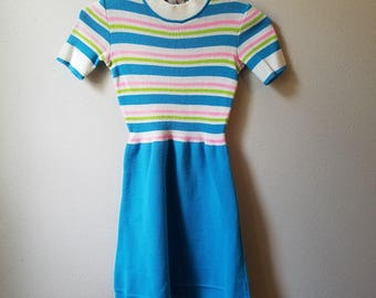 Vintage 60s Girls Blue Striped Sweater Dress by Piccolino of Italy - Size 7 - Gently Worn